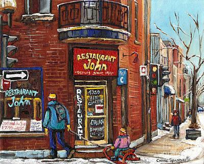 Quebec Streets Painting - Restaurant John by Carole Spandau