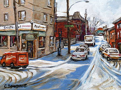 Montreal Restaurants Painting - Restaurant  Machievelli  Pointe St Charles  Paintings  Montreal Art  Winter City Scenes  Quebec  by Carole Spandau
