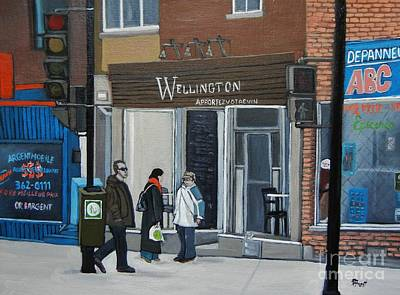 Montreal Restaurants Painting - Restaurant Wellington by Reb Frost