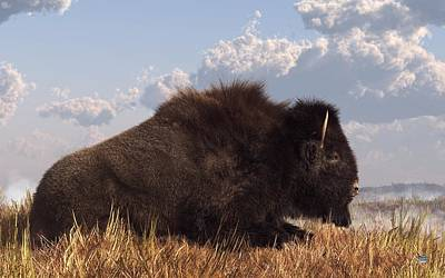 Western Themed Digital Art - Resting Bison by Daniel Eskridge