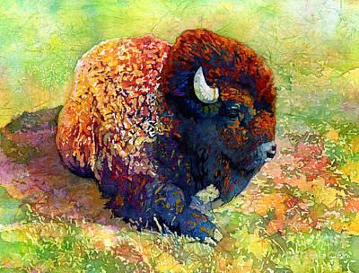 Resting Bison Original by Hailey E Herrera
