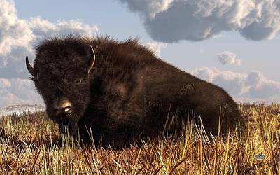 Western Themed Digital Art - Resting Buffalo by Daniel Eskridge