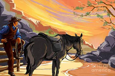 Heat Mixed Media - Resting Cowboy by Bedros Awak