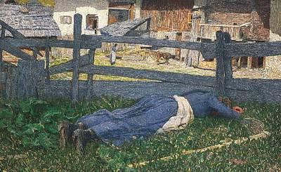 Resting In The Shade Print by Giovanni Segantini