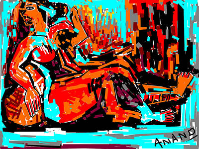 Resting Lady Print by Anand Swaroop Manchiraju