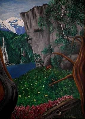 Norwegian Waterfall Painting - Resting by Lisbeth M Sandvik