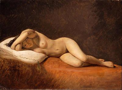 Constantin Hansen Painting - Resting Model by Constantin Hansen
