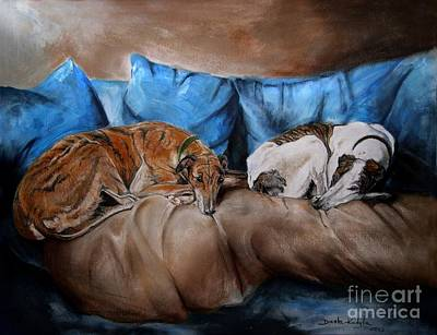Greyhounds Painting - Resting Time by Dorota Kudyba