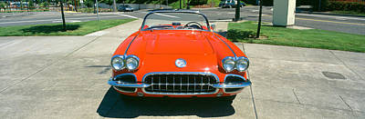 Nineteen-fifties Photograph - Restored Red 1959 Corvette, Front View by Panoramic Images