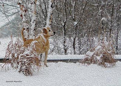 Retrievers Digital Art - Retriever And Fresh Snowfall by Gerald Marella