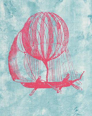 Retro Airship - Balloon Print by World Art Prints And Designs