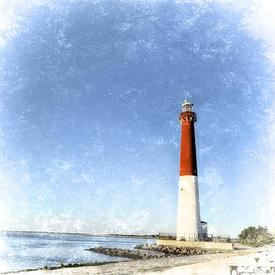Nj Mixed Media - Retro Barnegat Lighthouse Barnegat Light New Jersey by Marianne Campolongo