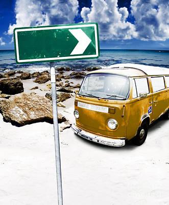 Directional Signage Photograph - Retro Beach Van by Jorgo Photography - Wall Art Gallery