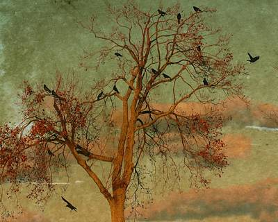 Corvid Digital Art - Retro Clouds by Gothicolors Donna Snyder