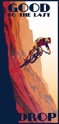 Cyclist Painting - Retro Cycling Fine Art Poster Good To The Last Drop by Sassan Filsoof