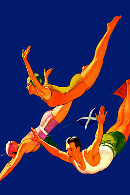 Pink Painting - Retro Cliff Divers - At The Beach America by Private Collection