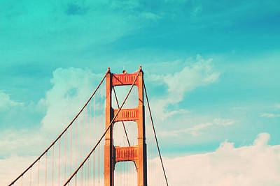 Architecture Digital Art - Retro Golden Gate - San Francisco by Melanie Alexandra Price