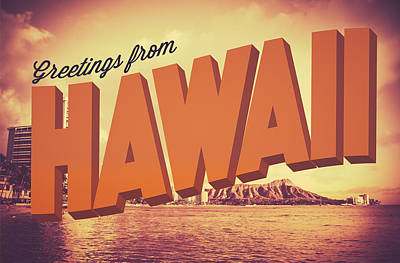 Retro Greetings From Hawaii Postcard Print by Mr Doomits