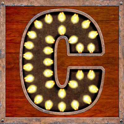 Patina Digital Art - Retro Marquee Lighted Letter C by Mark Tisdale