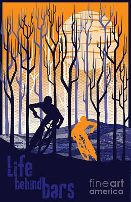 Retro Mountain Bike Poster Life Behind Bars Print by Sassan Filsoof