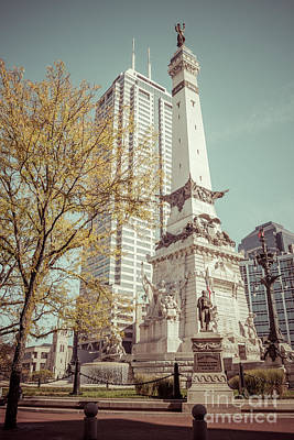 Retro Picture Of Indianapolis Soldiers And Sailors Monument  Print by Paul Velgos