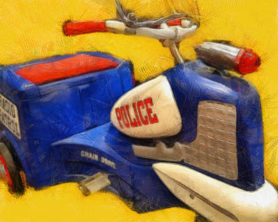Retro Police Tricycle Print by Michelle Calkins