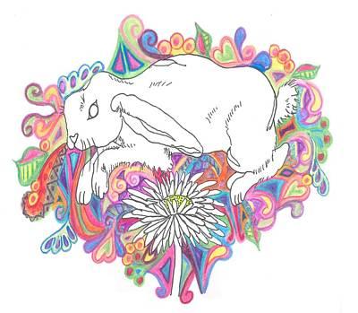 Retro Rabbit Print by Cherie Sexsmith