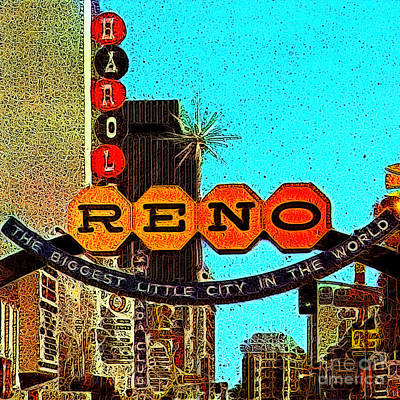 Wingsdomain Digital Art - Retro Reno Nevada The Biggest Little City In The World 20130505v1 by Wingsdomain Art and Photography