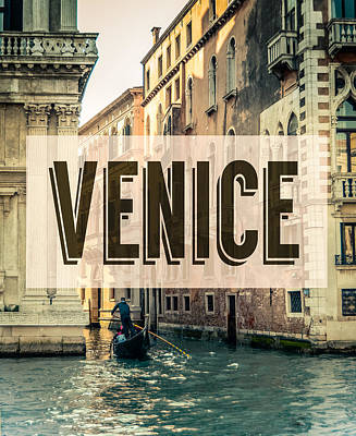 Retro Venice Grand Canal Poster Print by Mr Doomits
