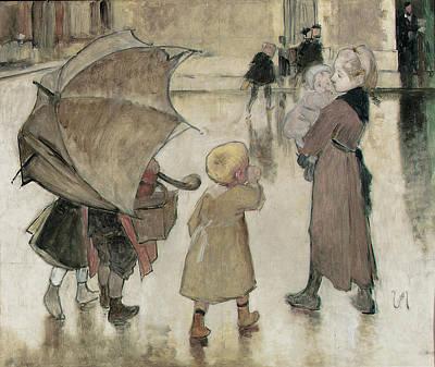 Ecole Photograph - Return To School Oil On Panel by Henri Jules Jean Geoffroy