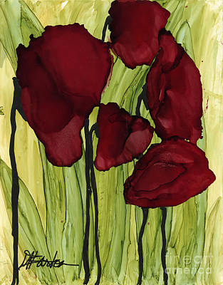 Barton Painting - Reverent Poppies by Mary T Barton