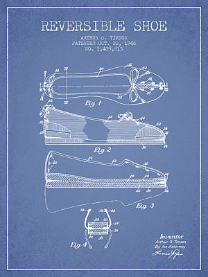 Old Boot Digital Art - Reversible Shoe Patent From 1946 - Light Blue by Aged Pixel