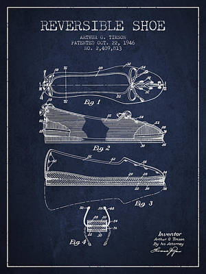 Reversible Shoe Patent From 1946 - Navy Blue Print by Aged Pixel