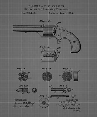 Action Drawing - Revolver Firearm Patent Blueprint Drawing by Dan Sproul