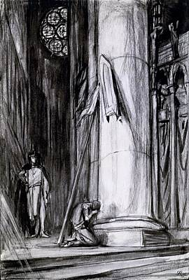 Interior Scene Drawing - Rheims Cathedral, Scene From St Joan by Charles Ricketts