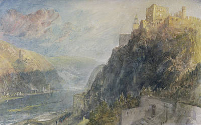Turner Reproductions Painting - Rheinfels Looking To Katz And Gourhausen by Joseph Mallord William Turner