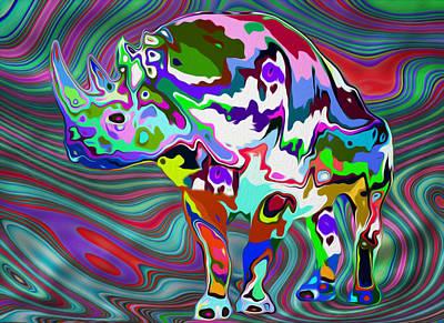 Rhinoceros Digital Art - Rhino - Abstract 2 by Jack Zulli