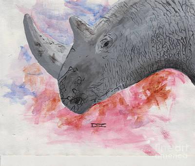 White Rhino Painting - Rhino by David Jackson