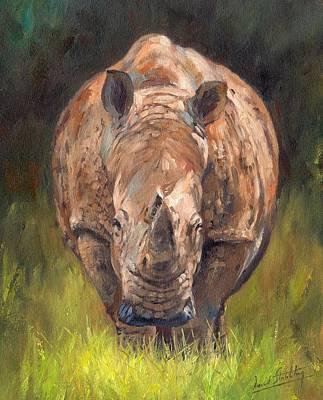 Rhino Painting - Rhino by David Stribbling