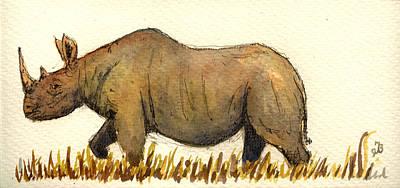 Rhino Painting - Rhino by Juan  Bosco