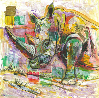 Pen And Ink Illustration Mixed Media - Rhinoceros Love by Elizabeth D'Angelo