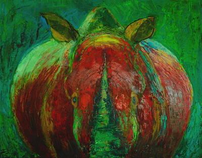 Rhinocerus Painting - Rhinocerus by Magdalena Walulik