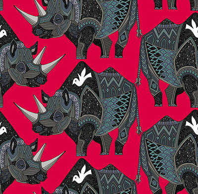 Damask Drawing - Rhinoceros Red by Sharon Turner