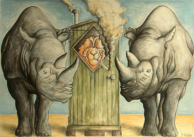 Camel With Rhinos - Cartoon Print by Art America Online Gallery
