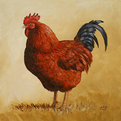 Rhode Island Red Rooster Original by Crista Forest