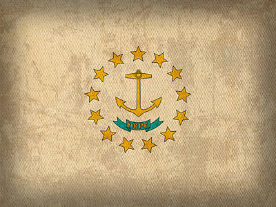 Flag Mixed Media - Rhode Island State Flag Art On Worn Canvas by Design Turnpike