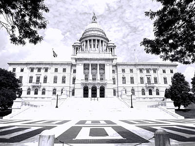Cityhall Photograph - Rhode Island State House Bw by Lourry Legarde