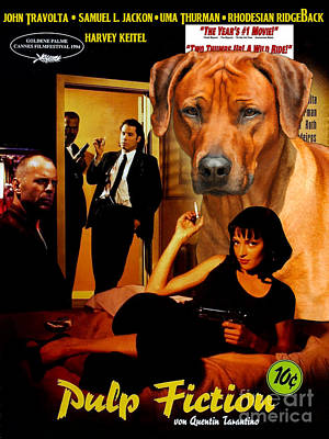 Pulp Painting - Rhodesian Ridgeback Art Canvas Print - Pulp Fiction Movie Poster by Sandra Sij