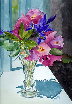 Print Of Irises Painting - Rhododendrons And Iris by Jo Appleby
