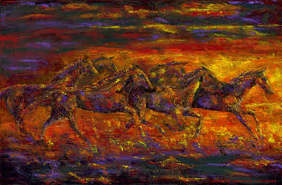Contemporary Horse Painting - Rhythm Of The West by Jennifer Godshalk